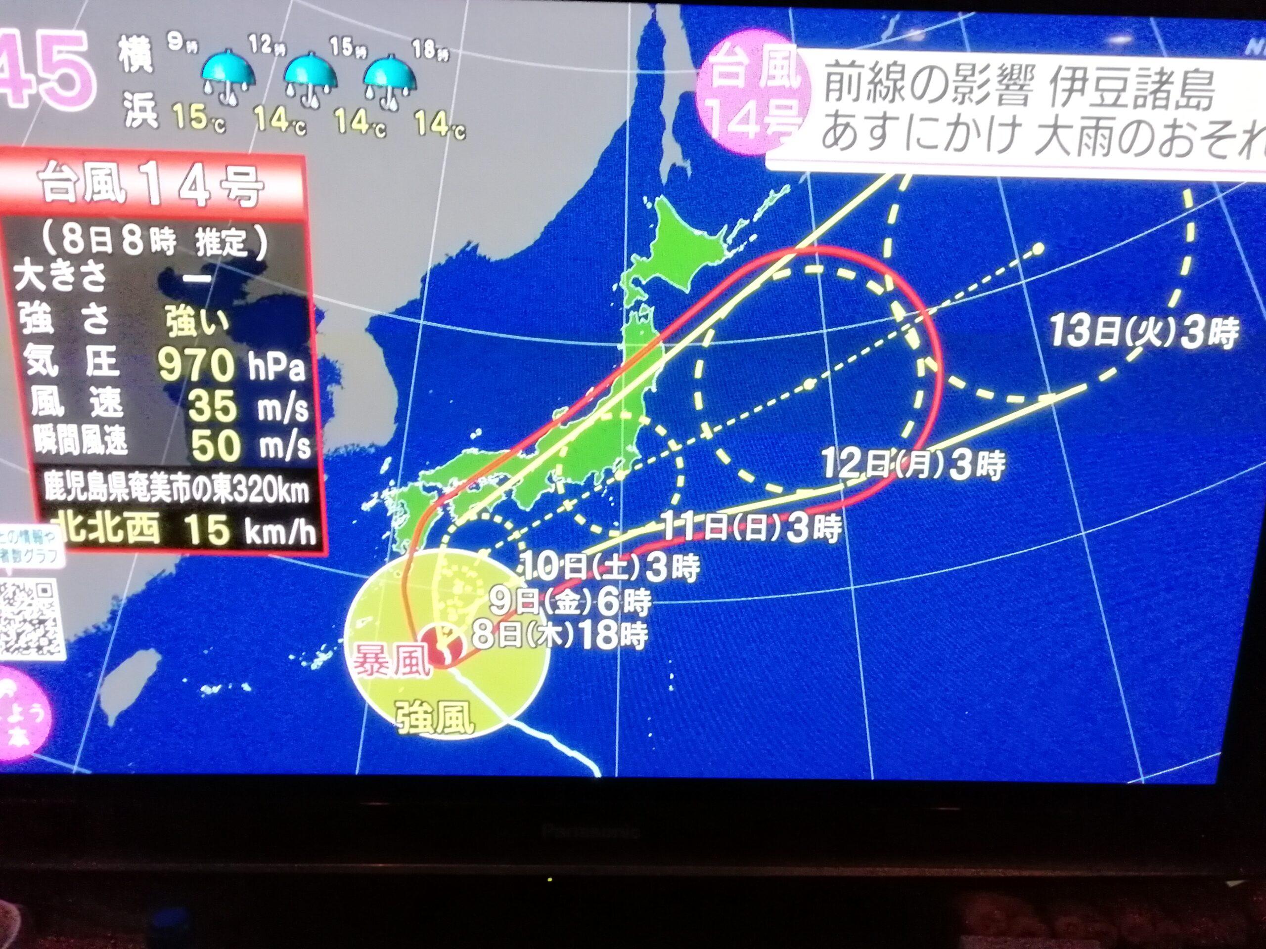 伊豆諸島の海況は今週末まで厳しいー台風14号が影響、今週は釣り自粛しましょう